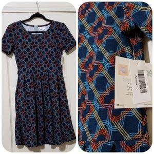 Amelia dress NWT size S red blue yellow geometric